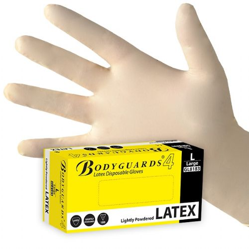bodyguard-Disposable-Latex-Disposable-Glove-Lightly-Powdered-(100-Gloves)
