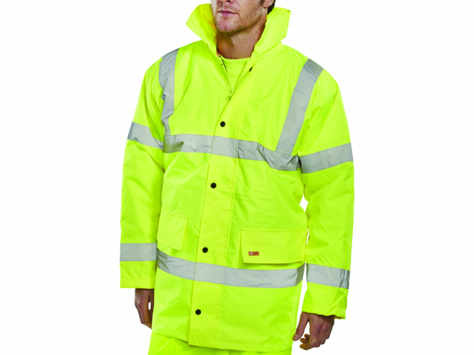 Yellow High Vis Waterproof Padded Coat / Concealed Hood & Knitted Storm Cuffs  -1