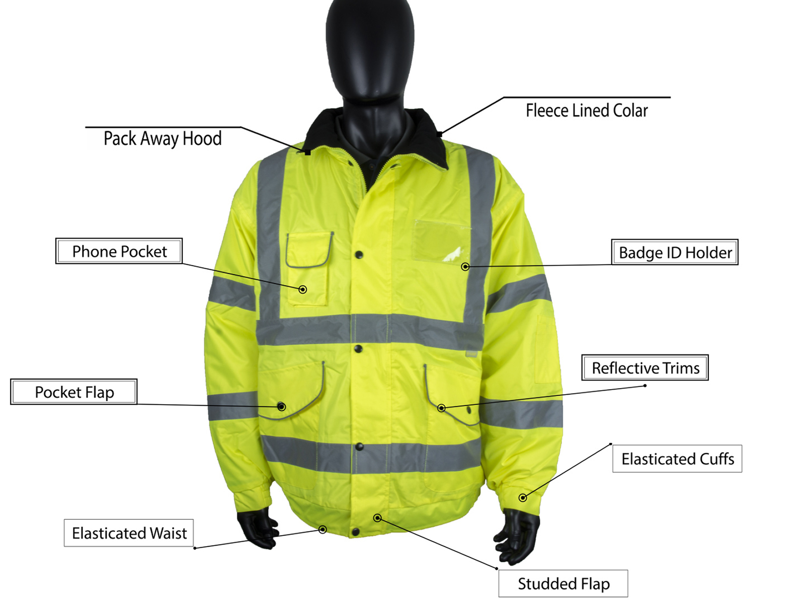 High Visibility Waterproof Bomber Jacket w/ Heavy Duty Zip & Storm Flap - 1