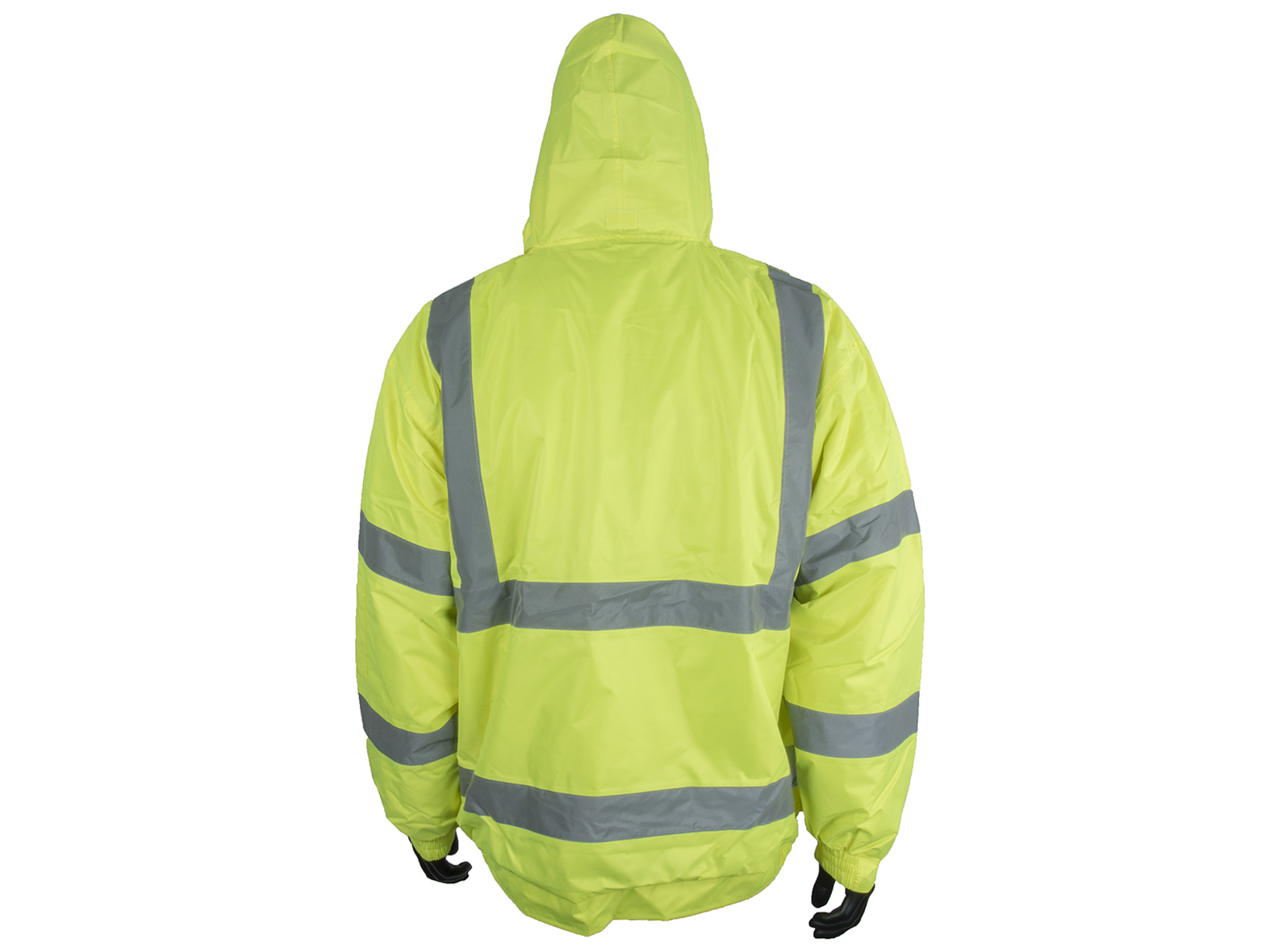 High Visibility Waterproof Bomber Jacket w/ Heavy Duty Zip & Storm Flap - 4