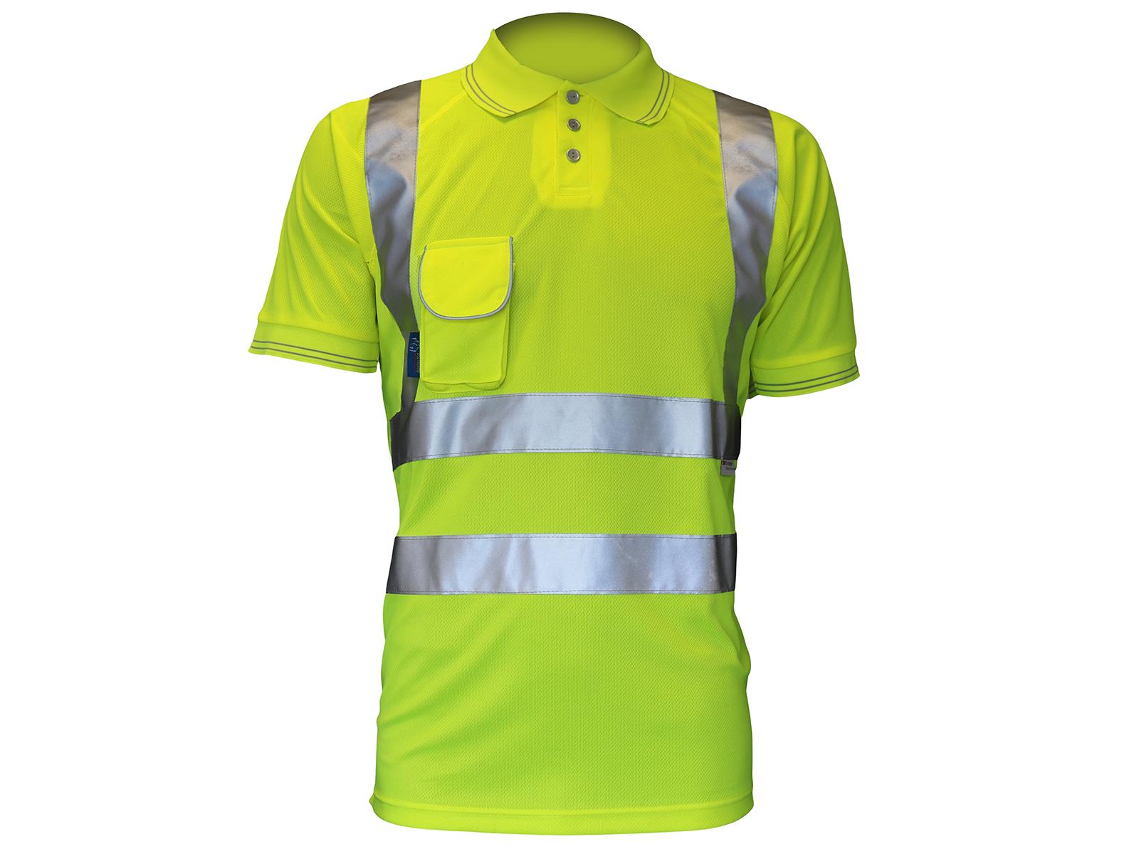High Vis Short Sleeve Yellow Polo Shirt w/ Mobile Phone Pocket