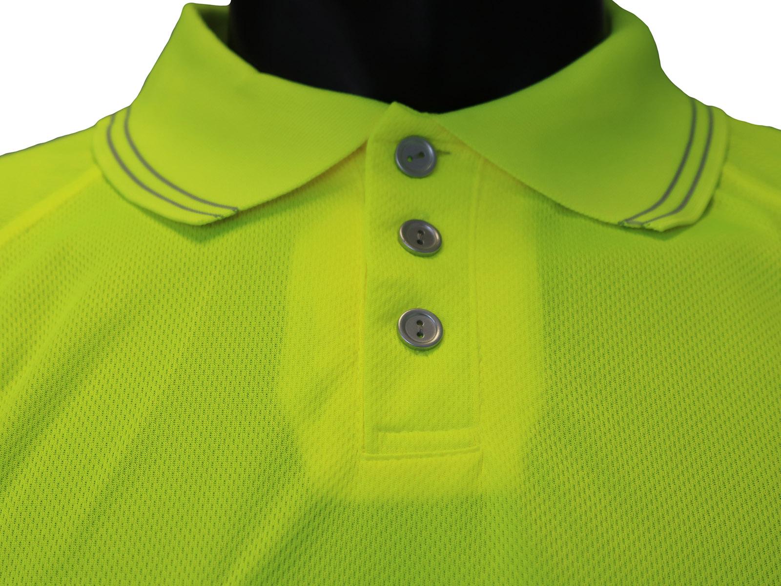 High Vis Short Sleeve Yellow Polo Shirt w/ Mobile Phone Pocket - 2