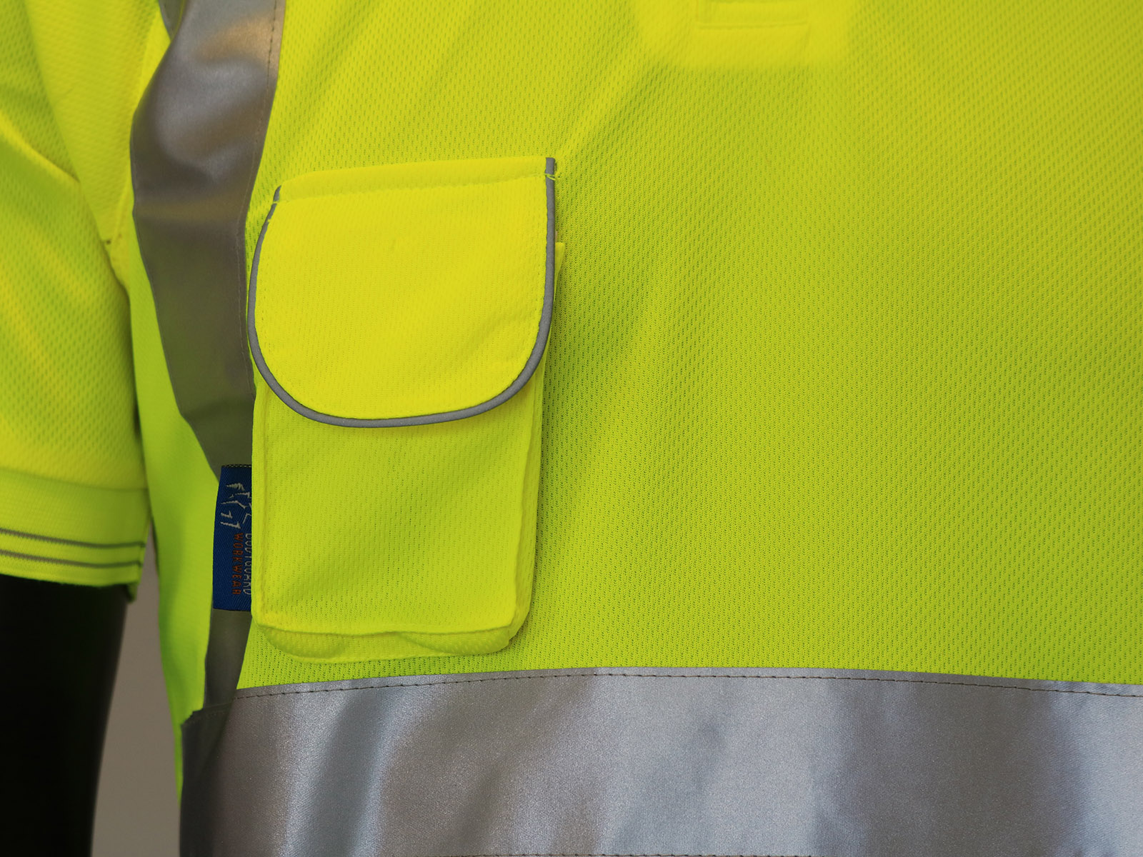 High Vis Short Sleeve Yellow Polo Shirt w/ Mobile Phone Pocket - 3
