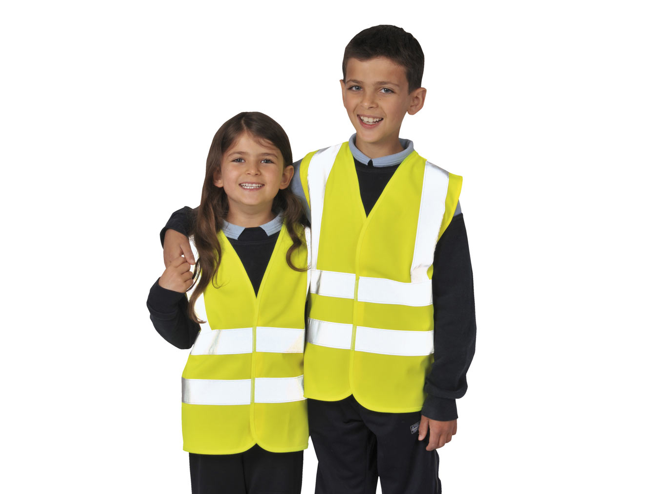 Yellow children high visibility vest w/ Reflective tape & Hook and loop closure