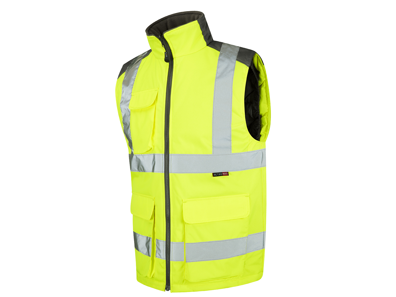Yellow PU Coated Polyester Bodywarmer Vest w/ Fleece-Lined Collar for Comfort