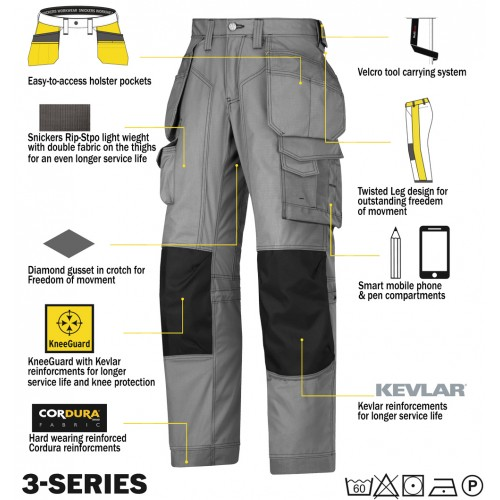 Snickers Trousers Floor Layers Workwear Trousers w/ advanced cut with twisted leg