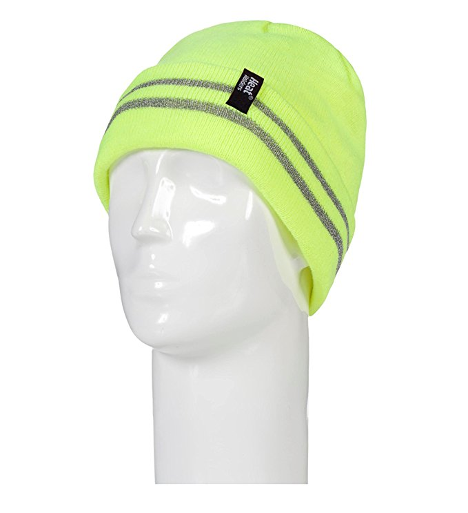 Heat Holders - Mens hi vis reflective outdoor winter thermal knitted high visibility turnover hat