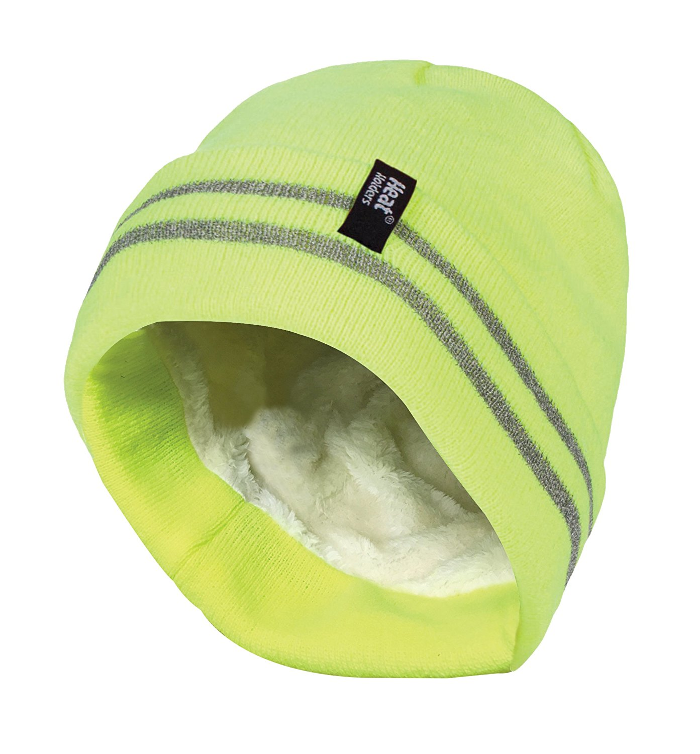 Heat Holders - Mens hi vis reflective outdoor winter thermal knitted high visibility turnover hat -1