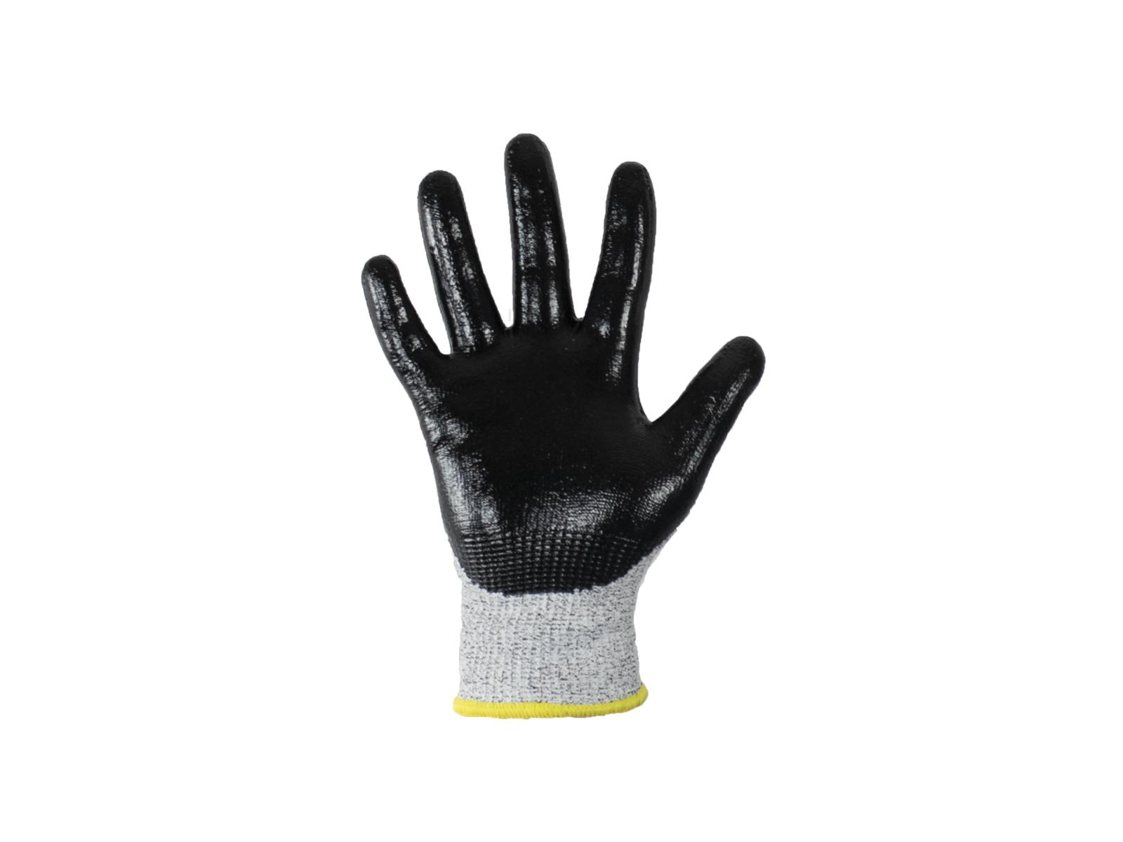 Samurai Cut 5 Safety Gloves w/ nitrile grip coating & soft seamless knitted yarn