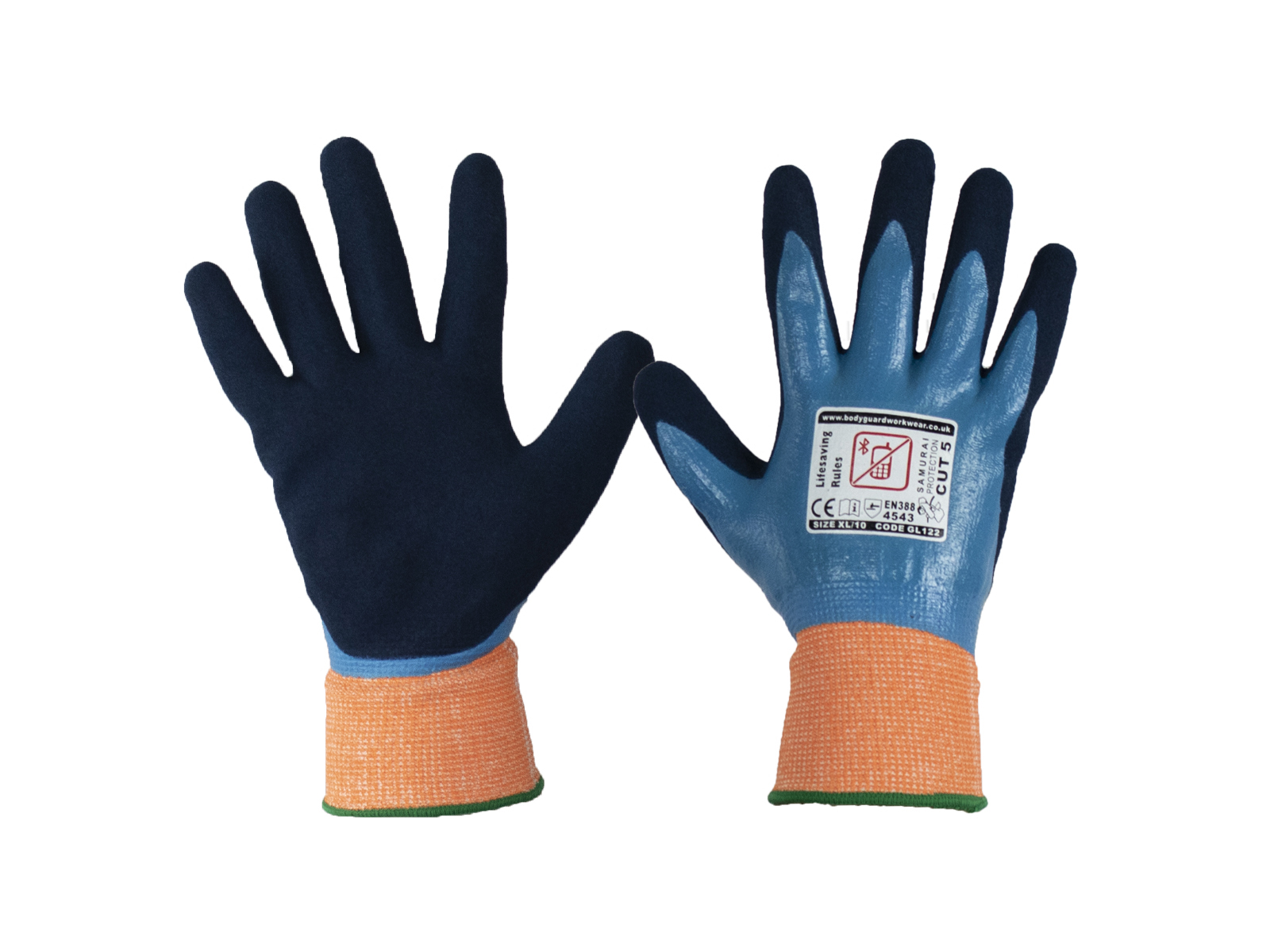 Samurai Wet Cut 5 Safety Glove w/ Complete Waterproof Front and Back