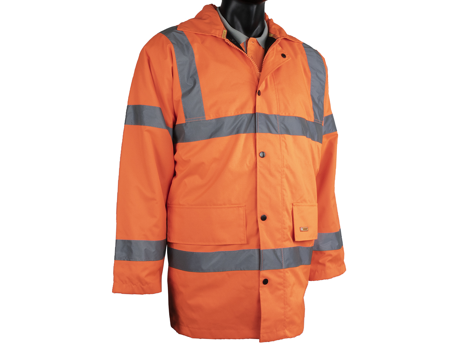 Orange High Vis Waterproof Coat W/ Quilted Padded Lining & Knitted Storm Cuffs