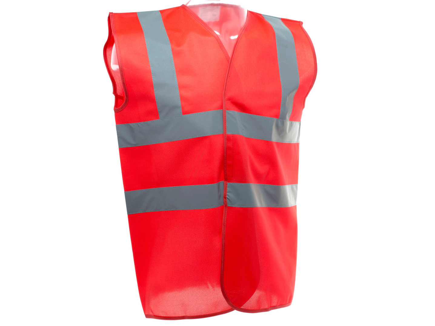 High Vis Red SLEEVELESS Vest w/ velcro fastening & 50mm width reflective tape