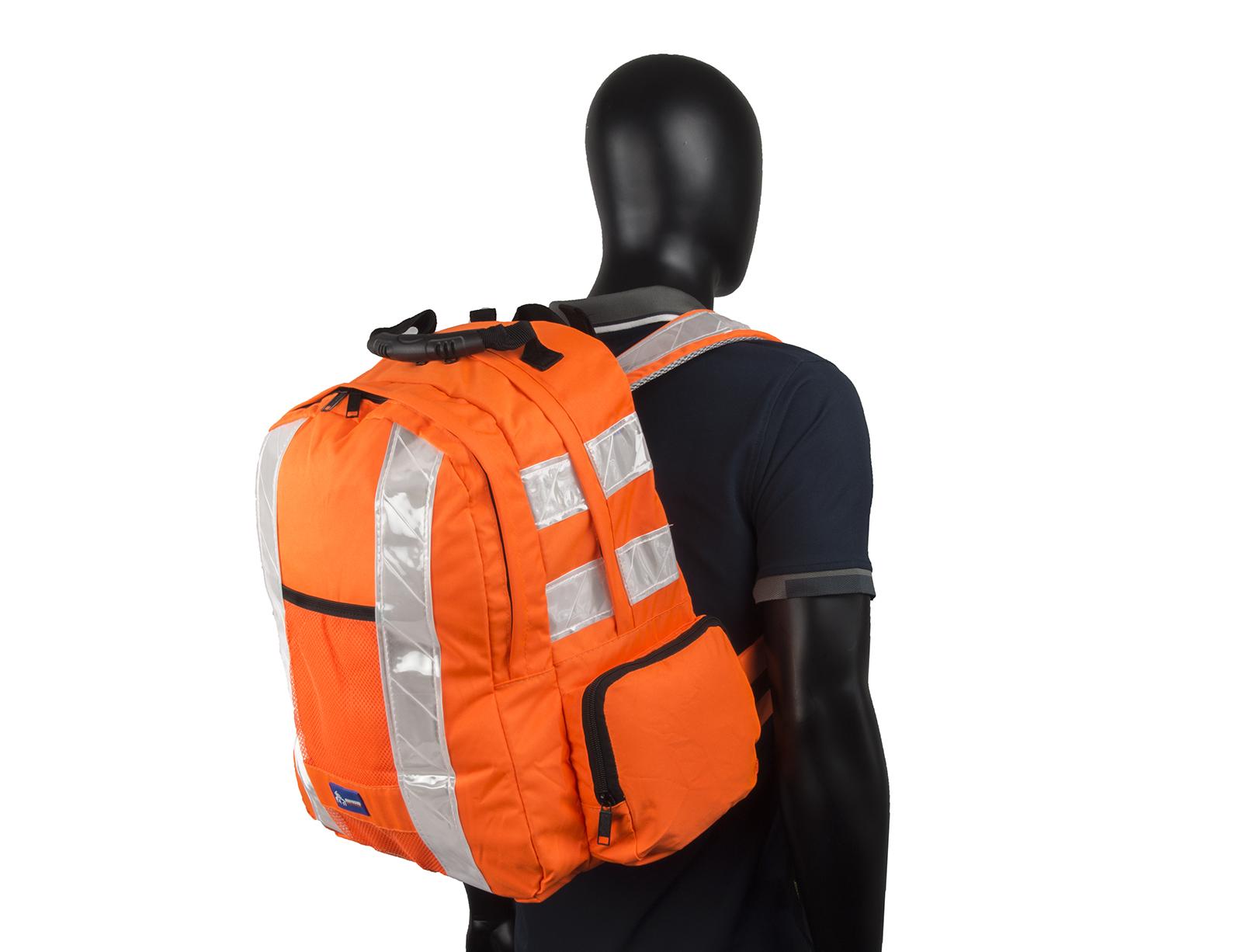 High Vis Backpack Work Rucksack w/ Anti-Entanglement System & Reflective Stripes