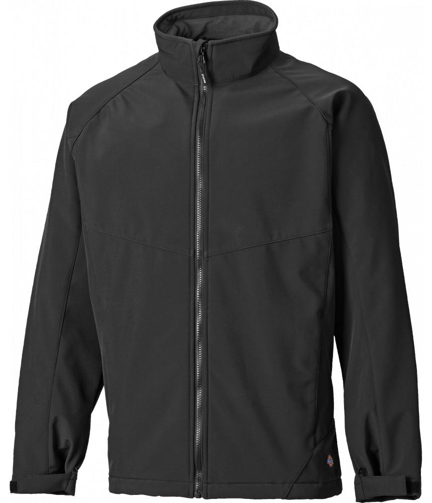 Dickies Softshell Jacket Waterproof Full Zip Coat Black FREE SOCKS Breathable