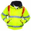 Yellow Hi Vis Traffic Bomber Jacket W/ Red Brace & Elasticated Storm Cuffs