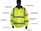 High Visibility Waterproof Bomber Jacket w/ Heavy Duty Zip & Storm Flap - 1