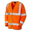 Orange High Vis Vest Long Sleeve w/ Velcro Front Fastening & Black Edge