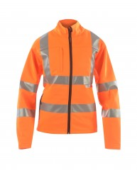 Ladies Softshell High Viz Rail Jacket w/ Storm cuffs fitted into sleeves