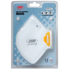 JSP Disposable FFP2 Vertical Fold Flat Mask Pack 3