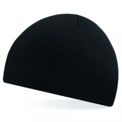 Beechfield Beanie Black w/ 100% Soft-touch acrylic & Double-layer knit