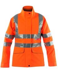 Vapourking Hi Vis Ladies Storm Coat W/ Contoured Neckline Collar & Fleece Chin Guard