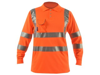Long Sleeve Hi Vis Polo Shirt w/ Soft Under Arm Ventilation & Soft Ribbed Cuff