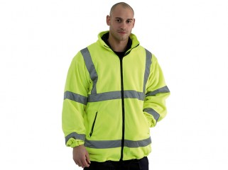 High Viz Yellow Fleece Jacket w/ Mesh Lining & Full Zip Fastening