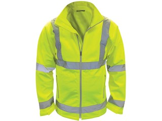 Yellow High Vis Softshell Jacket w/ Front zip fastening & Elastic cuffs