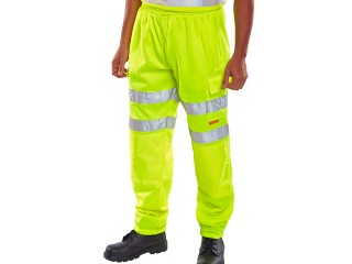 Yellow High Viz jogging bottoms w/ Fully Elasticated Waist & Drawcord