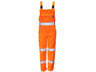 High Viz Rail Bib and Brace Orange w/ Cargo Pockets & Elasticated Flexi Braces