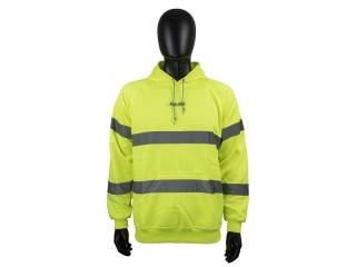Yellow High Vis hooded Sweatshirt w/ generous pockets and adjustable drawstring