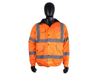 Orange Waterproof Bomber Jacket w/ Elasticated cuffs & Concealed hood