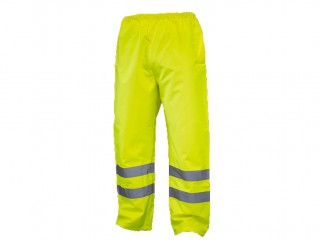 Yellow High Vis Waterproof Over trousers w/ Elasticated Waist & Drawcord