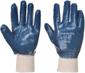 Nitrile Dip Wrist Safety glove - Jersey cotton lining with knitwrist