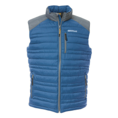 Caterpillar Defender Insulated Vest in Blue w/ durable nylon ripstop fabric