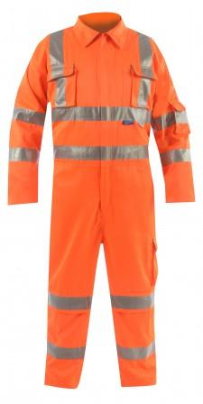Hi Vis Orange Rail Coverall w/ Rear cargo pockets plus utility pocket