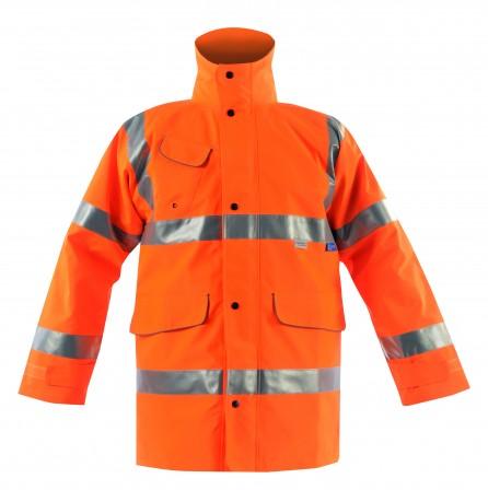 Vapourking Hi Vis Rail Storm Coat w/ Contoured Neckline Collar & Fleece Chin Guard