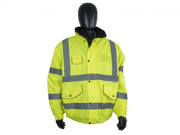 High Visibility Waterproof Bomber Jacket w/ Heavy Duty Zip & Storm Flap