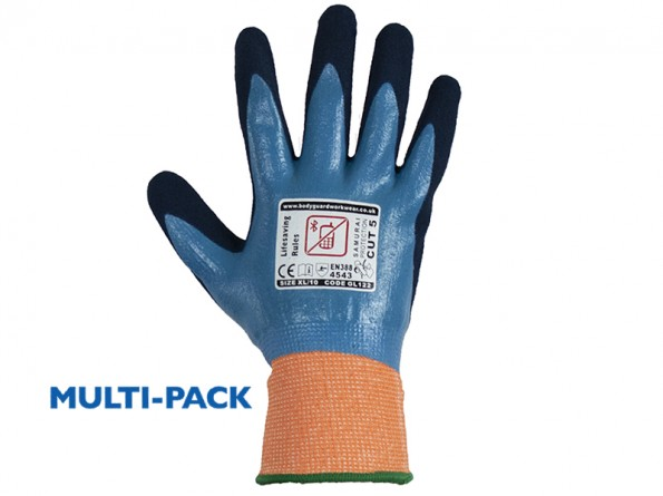 Samurai Wet Cut 5 Safety Glove w/ Complete Waterproof Front and Back -12 Pairs / Pack