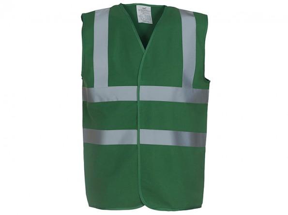 High Vis Green Sleeveless Vest W/ Velcro Fastening & 50mm Width Reflective Tape