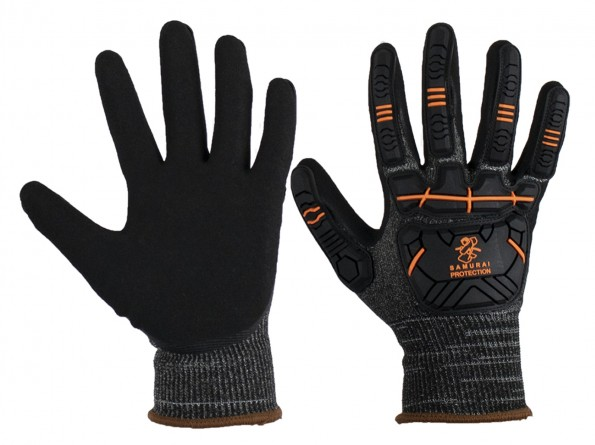 Samurai Cut 5 Safety Glove w/ back of hand impact and scuff protection