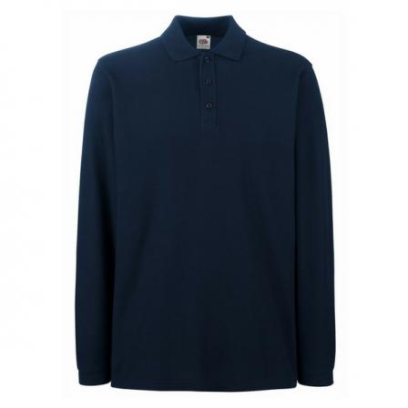 Fruit of the Loom Long Sleeve Polo Shirt w/ Elastane rib cuff