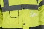 Dual Colour Hi Vis Jacket w/ Quilted lining, Knitted storm cuffs & Concealed hood