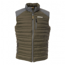 Caterpillar Defender Insulated Vest In Moss W/ Durable Nylon Ripstop Fabric