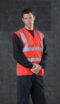 High Vis Red SLEEVELESS Vest w/ velcro fastening & 50mm width reflective tape