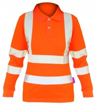 Ladies Hi Vis Rail L/S Polo Shirt