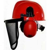 Orange Chainsaw Safety Helmet Set w/ ear muffs & mesh visor