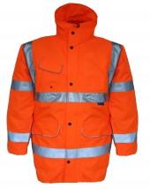 GN110B Breathable Hi Vis Rail Storm Coat w/ Double Storm Rain Front Flaps