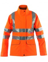 Vapourking Hi Vis Ladies Storm Coat W/ Contoured Neckline Collar & Fleece Chin Guard