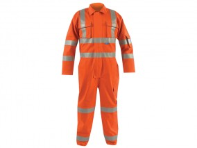 Hi Vis Flame Retardant Rail Coverall w/ Elasticated Back & Self-Lined Pockets